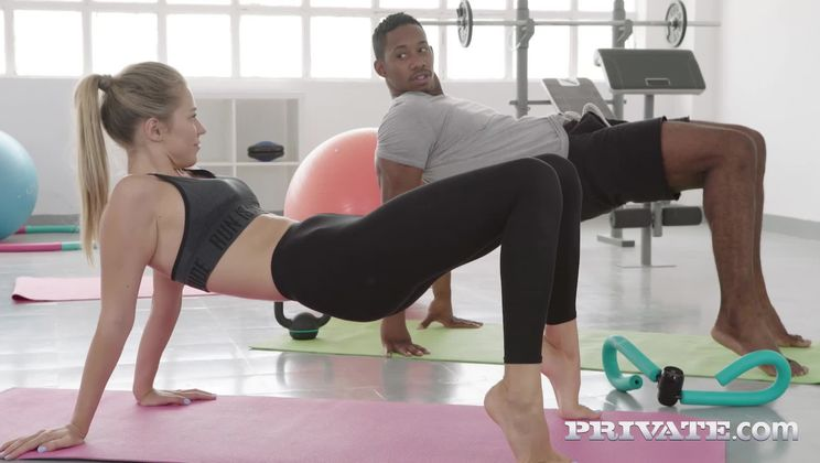 Mary Kalisy, interracial fuck in the gym