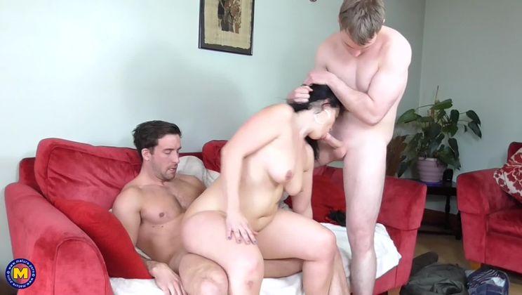 Naughty housewife having a threesome