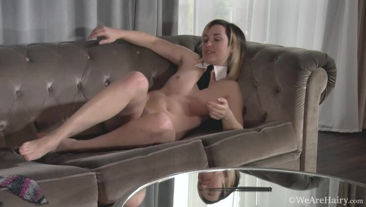 Sasha K combs and strokes her hairy pussy