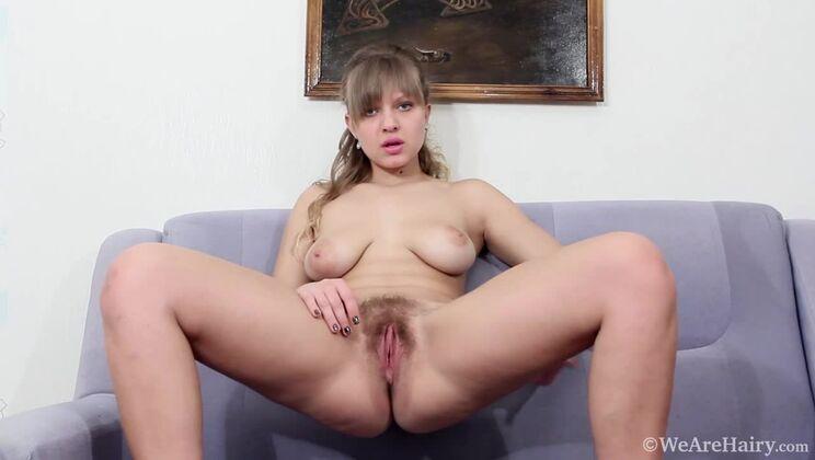 Jamaica masturbates on her purple couch to orgasm