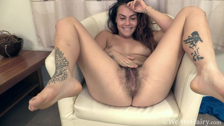 Sweet Mary Jane strips naked on her chair