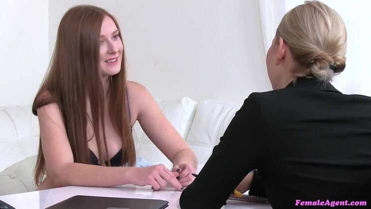 Hot Redhead in Lesbian Casting Fuck