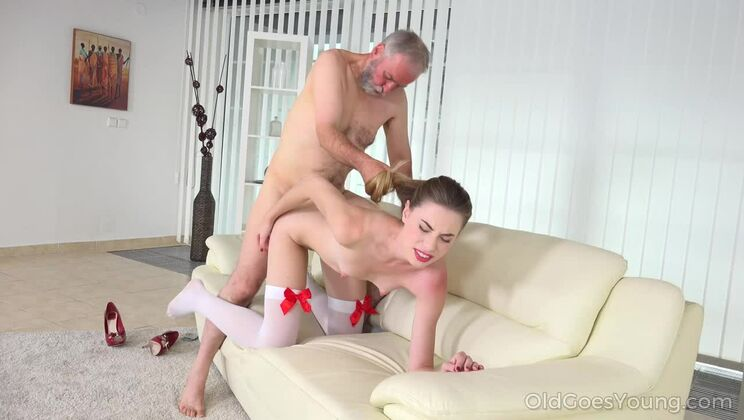 Cutie joins an old man for an anal fuck.