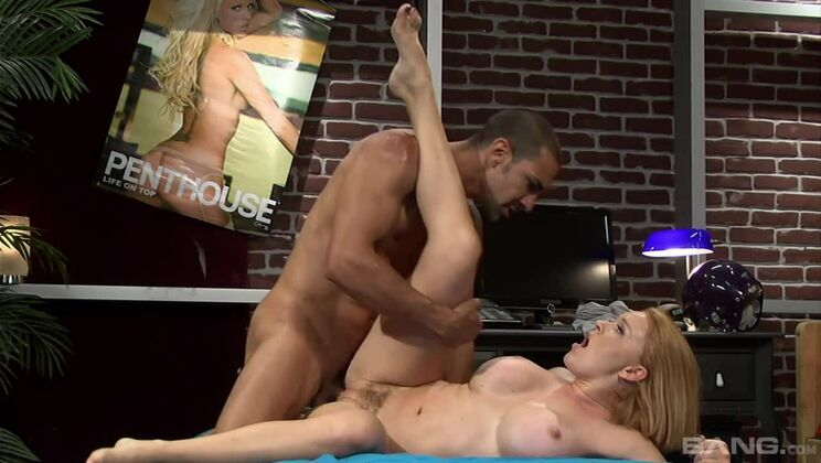 Krissy Lynn holds her tits as he cums all over them