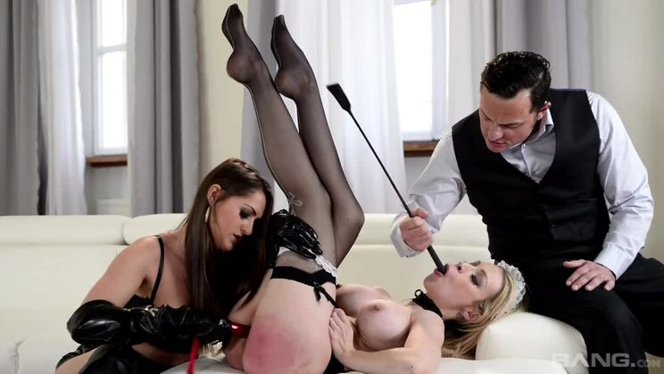 Kendra Star fucks French maid Chessie Kay while she gives her hubby a BJ