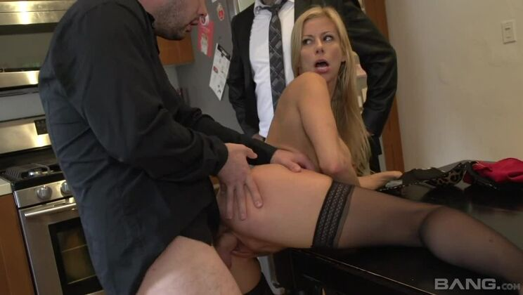 Alexis Fawx cums on her studs dick while another dude watches