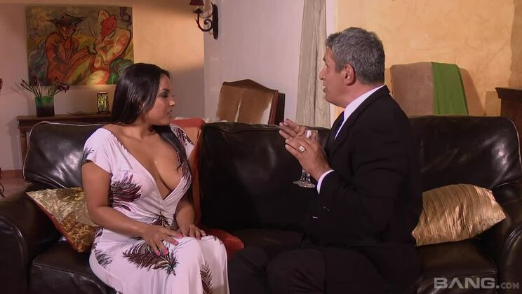 Adriana Luna arches her back to squeeze his dick tight in her pussy
