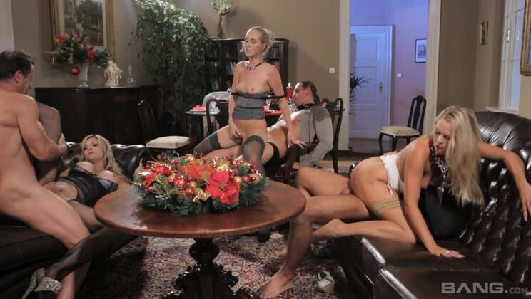 Holiday dinner turns into swinging group sex for three hot blondes