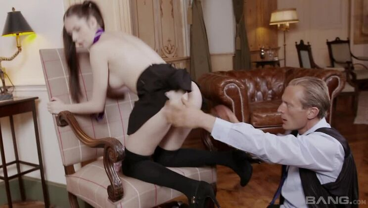 Rebecca Volpetti lets her horny perv History professor creampie her pussy
