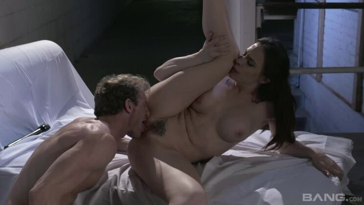 Chanel Preston spreads her hairy pussy wide as she rides a thick dick