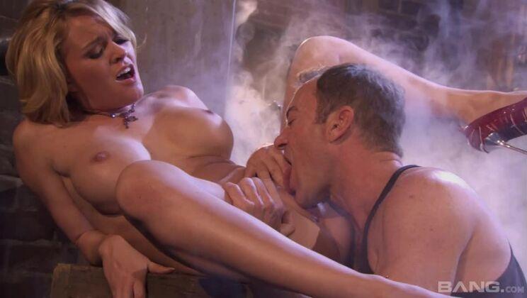 Krissy Lynn throats his huge cock in a dark alleyway like a slut