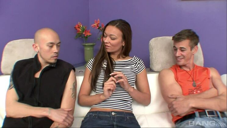 Crissy Moon is inches away watching her boyfriend get ass fucked by a dude