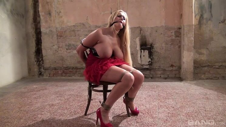 Angel Wicky's Dom goes hard on her massive titties while shes tied up