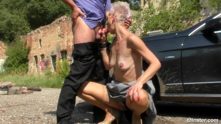 Blonde Bimbo Hitch Hiker Loves His Piss