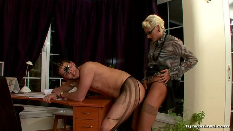Boss Gets Punished By Big Black Strap-On