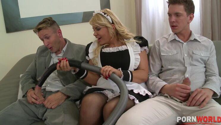 Dream maid Tiffany Kingston works two big veiny cocks for loads of cum GP1044