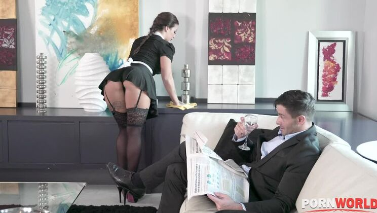 Boss can't wait to fuck his mouth-watering porn maid Susy Gala on the couch GP1087