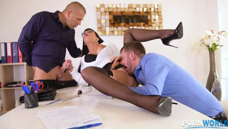 Milf boss Valentina Ricci orders double penetration threesome in the office GP1392