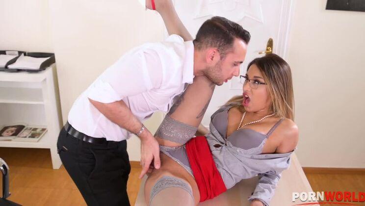 Sexy secretary Roxy Lips has cum hard having hot anal sex in the office GP1189