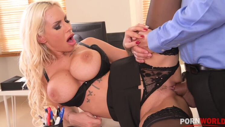 Busty blonde Kyra Hot bent over her desk and pussy banged out by her boss GP1312