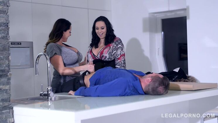 Top-heavy babes Laura Orsolya & Anastasia Lux titty fucked and cum all over GP445