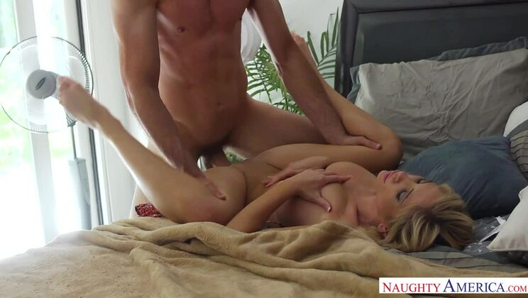 Stranger Tasha Reign fucking in the bed with her big tits