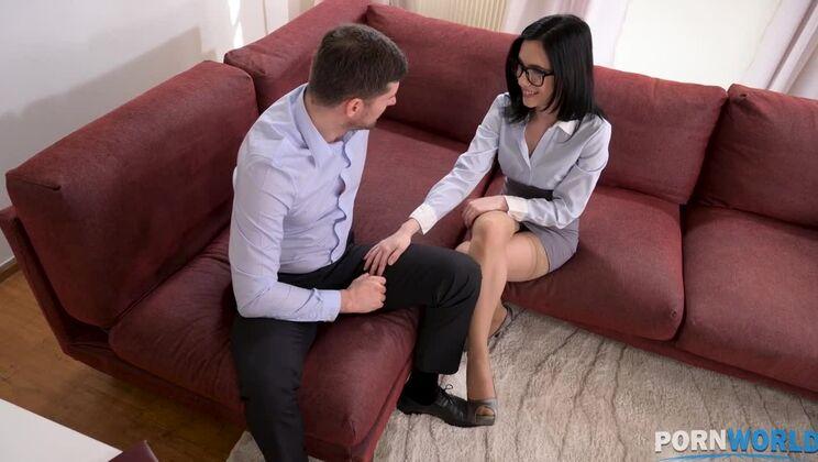 Naughty Nikki Fox nails her job interview by mounting her boss' big boner GP1416