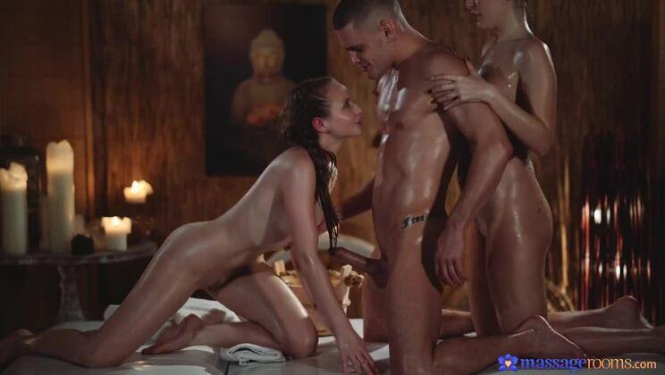 Sensual oil soaked MFF threesome