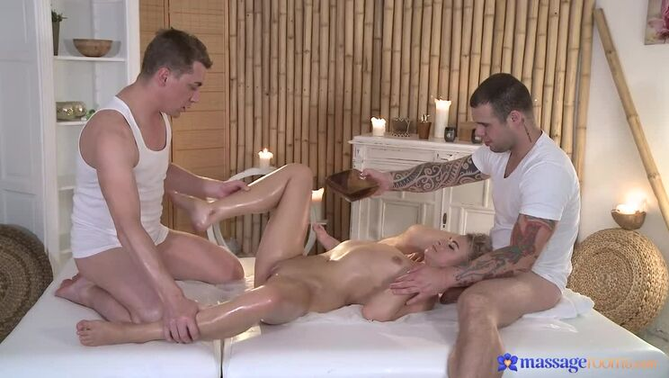 Blonde Gets Double Teamed By Two Masseurs' Cocks