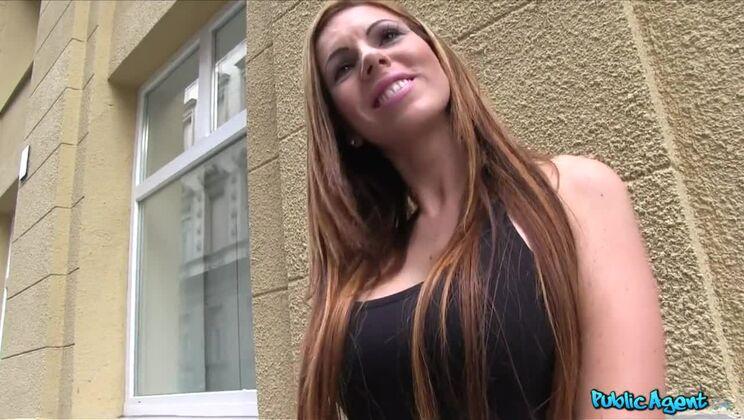 Hot Brunette Sucks Dick for Cash